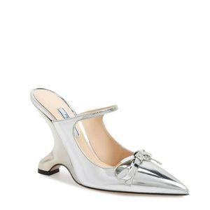 PRADA NEW Fin Heel Mule Shoes Size US Size 7.5